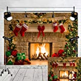 Fanghui 7x5ft Vinyl Christmas Background for Photography Xmas Tree Fireplace Sock Theme Party Decoration Photo Backdrops Studio Props Banner (Color: Christmas Fireplace)