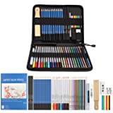 Color Pencil Set, AGPTEK Colored Pencil Set of 53, Drawing Pencil,Watercolor Pencil & Sketching Pencil Set with Canvas Zipper Case, Ideal for Artists, Sketchers, Teachers & Students (Color: Color+Sketch Pencil Set)