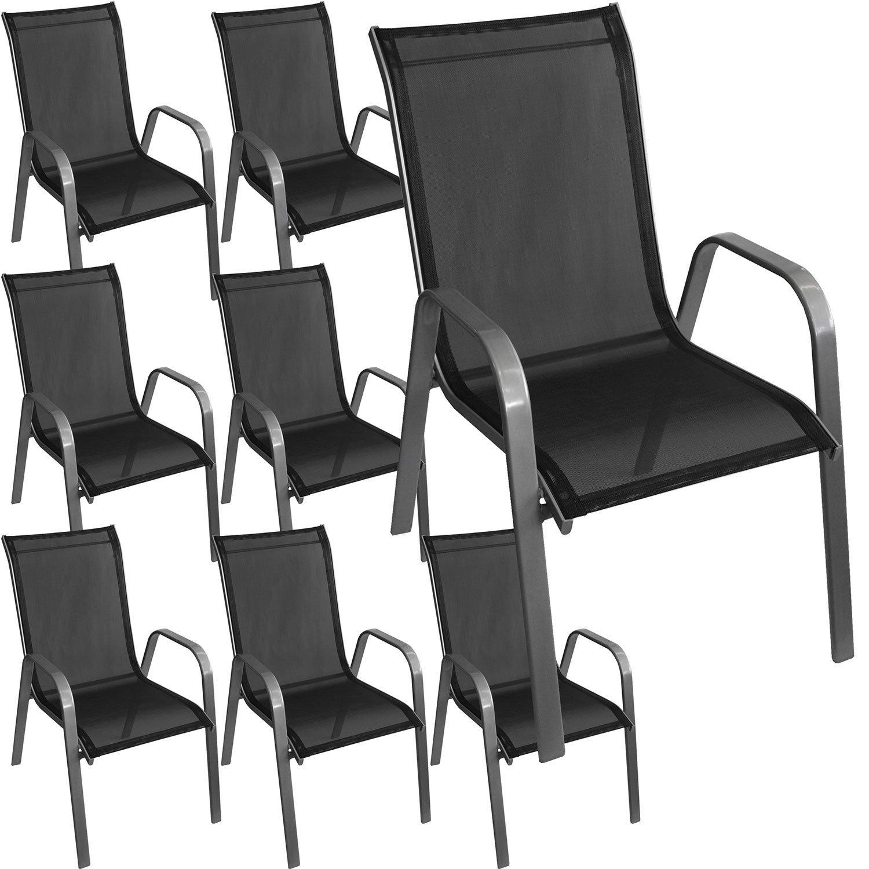 8 Stück Stapelstuhl Gartenstuhl Stapelsessel Gartensessel stapelbar Stahlgestell pulverbeschichtet mit Textilenbespannung Gartenmöbel Balkonmöbel Terrassenmöbel Silber / Schwarz