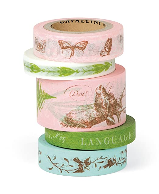 Cavallini Flora & Fauna Decorative, 5 Assorted rolls