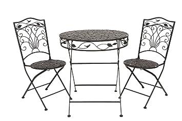 Impostare ferro guarnizione stile antico giardino marrone tavolo Mobili da