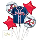 Andaz Press Balloon Bouquet Party Kit with Gold Cards & Gifts Sign, Atlanta Braves MLB Baseball Themed Foil Mylar Balloon World Series Decorations, 1-Set (Color: Sports Atlanta Braves)