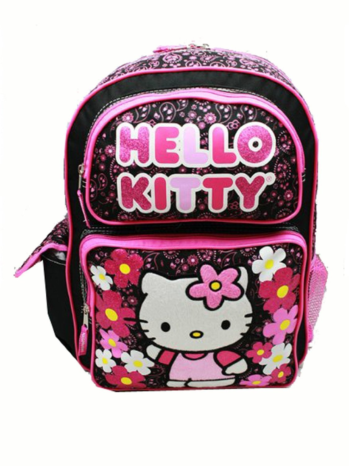 Hello Kitty Sanrio Hello Kitty Large Backpack - Flowers Black School Bag
