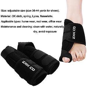 Bunion Corrector,ZXK CO Bunion Splint - Toe Separators Spacers Straighteners & Corrector Brace Pad Hallux Valgus Pain Relief Protector Sleeves Kit- Night Time Support Men & Women(Black)