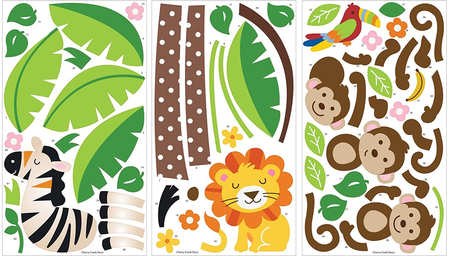 giant wall decal jungle monkeys lion zebra and palm jungle friends wall stickers by roommates room mates peel