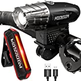 HODGSON Bike Lights Bicycle Lights Front and Back, USB Rechargeable Bike Light Set Super Bright Front and Rear Flashlight LED Headlight Taillight Splash-proof Easy To Install (Black)