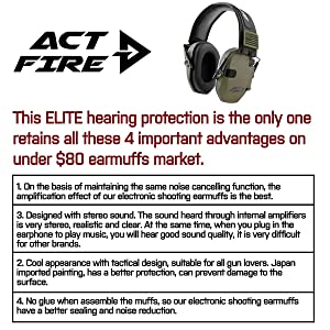 ACTFIRE Shooting Ear Protection, Electronic Ear Protection NRR 23dB Noise Reduction Sound Amplification Safety Earmuffs Ultimate Combat Shooting Muff Design Perfect for Shooting Hunting Mowing (Color: OD)
