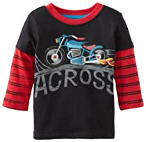 Watch Me Grow! by Sesame Street Baby-Boys Infant 1 Piece Motorcycle Across Pullover, Black, 24 Months