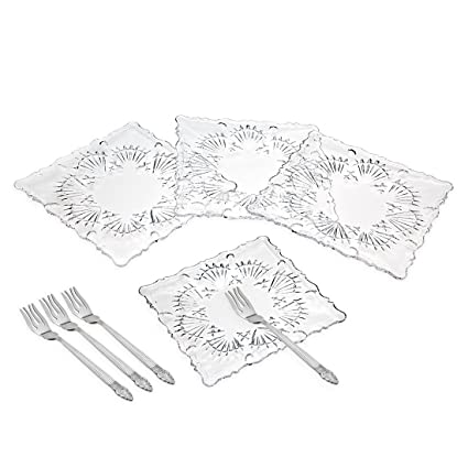 Square Lead Crystal Dessert Plates with Forks - Set of 4 by Godinger