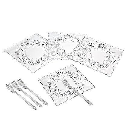 Square Lead Crystal Dessert Plates with Forks - Set of 4 by Godinger