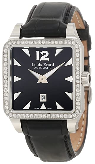 """Louis Erard Women's 20700SE02.BAV11 """"Emotion"""" Stainless Steel, Black Leather, and Diamond Square Automatic Watch"""