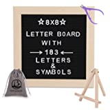 Black Felt Letter Board 8x8 Inches with Stand.Changeable Letter Boards Include 183 Precut White Plastic Letters & Oak Frame. (Color: Black, Tamaño: 8'x8')