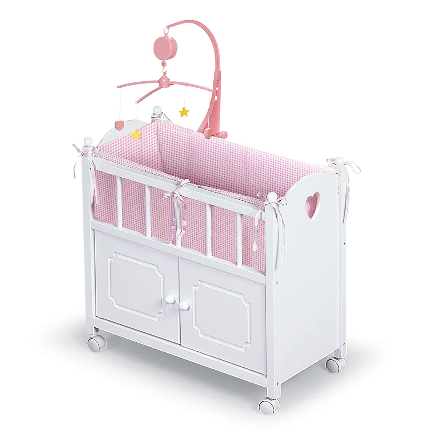 Badger Basket White Doll Crib with Cabinet/Bedding/Mobile/Wheels (fits American Girl dolls) via Amazon