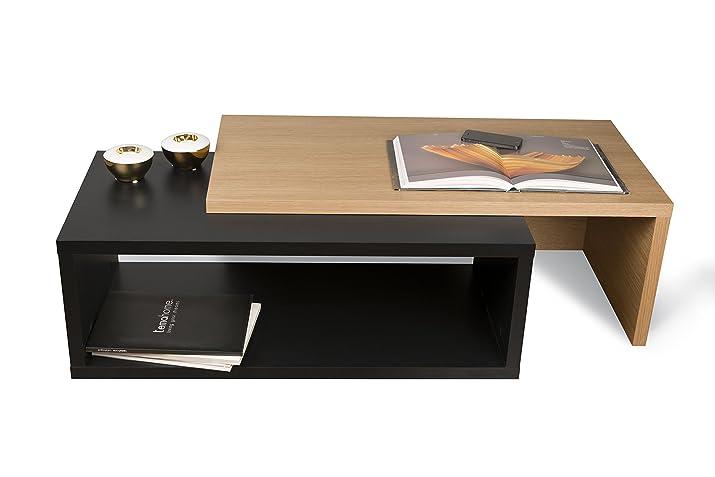 TemaHome Jazz Tavolino da Salotto, Legno, Rovere/Nero, 90 x 45 x 18 cm