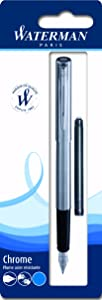 Waterman - Pluma estilográfica (cromo, incluye un cartucho de tinta azul)   revisión y descripción más