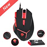 EasySMX [Wired Gaming Mouse 4000 DPI 9 Buttons Programmable] V18 Optical Mouse Weight Tuning Set Non-slip Design with LED Light Fire/Sniper Button for Laptop PC Computer Gamer (Black and Red)