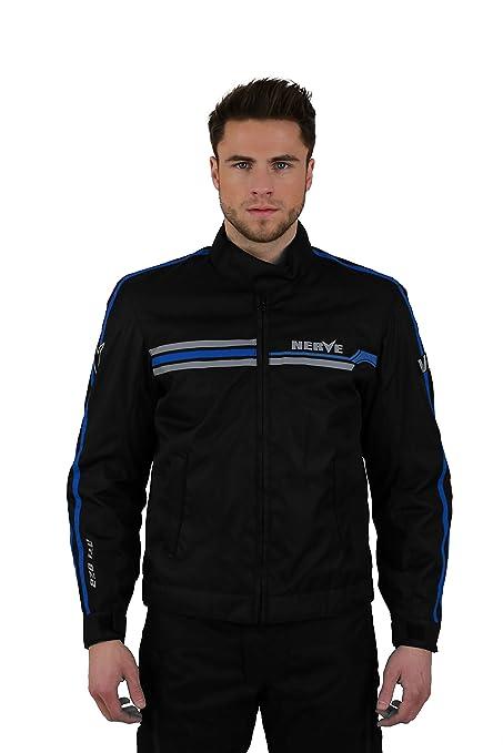 NERVE 1510130502_04 Swift Blouson Moto, Noir/Bleu, Taille : L