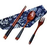 FORESTIME Japanese Wooden Chopsticks Spoon Fork Tableware 3pcs Set New Gift (brown, one) (Color: Brown, Tamaño: one)
