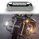 XK-GLOW XK034014-W Chrome Motorcycle Highway Bar Switchback Driving Light (White Amber LED for Crash Bars Harley Davidson Touring Bikes)
