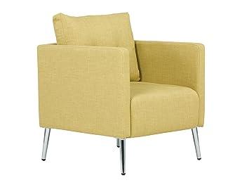 Massivum 10023416 Sessel Melrose senf Chromfuße, Stoff, gelb, 73 x 70 x 87 cm