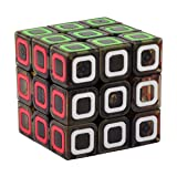 D-FantiX Qiyi Dimension 3x3 Speed Cube Stickerless Smooth Magic Cube 3x3x3 Puzzles Transparent Black 57mm (Color: Black)