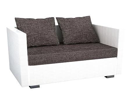 """VCM 904087 2-er Couch """"Sinsa"""" Kunstleder, Sofa mit Schlaffunktion, weiß"""