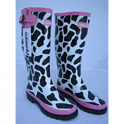 Women's Cotswold 100% Rubber Wellington Boot Cow Print Festival Wellies By Cotswold
