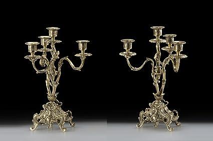 Virtus Becquer - Pareja de candelabros fabricados en bronce, 32 x 23 cm