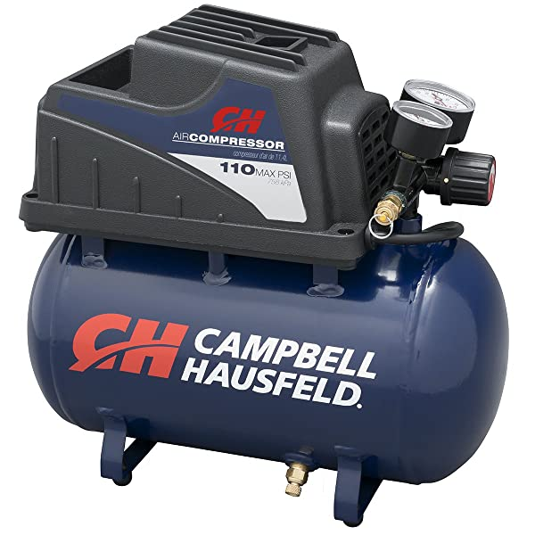 Portable Air Compressor, 2-Gallon Hot Dog Tank, Oilless with Air Hose and Inflation Kit (Campbell Hausfeld FP209000AV) (Tamaño: 2 gallon)