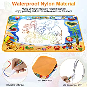 Toyard Doodle Mat, Large Aqua Magic Water Drawing Mat Toy Gifts for Boys Girls Kids Painting Writing Pad Educational Learning Toys for Toddler, Colorful (Color: Colorful)