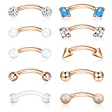 ORAZIO 16G 6MM Eyebrow Belly Button Rings Rook Earrings Daith Helix Piercings Barbell Body Jewelry Rose Gold Tone (Color: C: Rose Gold Tone 6MM)