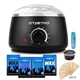 Wax Warmer DTOETKD Waxing Hair Removal Kit with 4 Hard Wax Beans  20 Wax Applicator Sticks  4 Small Bowls (At-home Waxing) (BLACK)