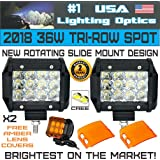 No.1 2X 36W 4 Inch USA Lighting PODS with Amber Lens covers 12PC CREE LEDs Light Bar Spot Beam Cube Work Light Offroad Tri-Row DRL for SUV Boat 4x4 Jeep 4WD RZR UTV