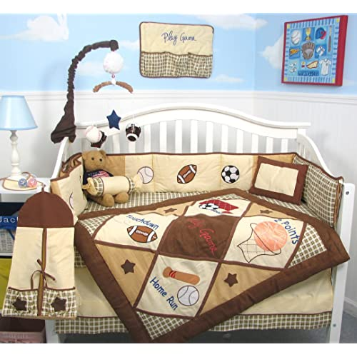 SoHo Lets Play Game Baby Crib Nursery Bedding Set 13 pcs included Diaper Bag with Changing Pad & Bottle Case