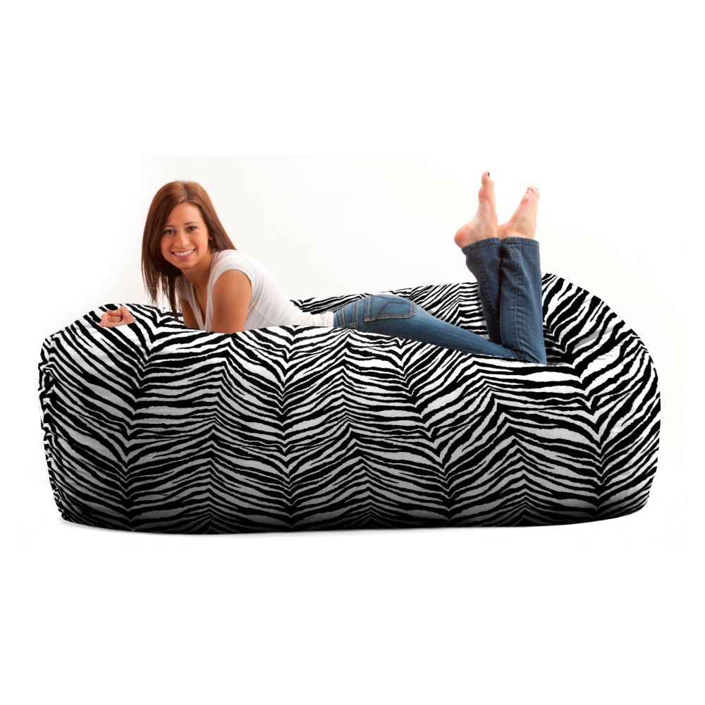 Comfort Research Original FUF Chair 6 ft. Twill Bean Bag Media Lounger -, Zebra, Twill Fabric