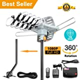 [Upgraded 2019] Amplified HD Digital TV Antenna - Outdoor HDTV Antenna 150 Mile Range Motorized with Adjustable Antenna Mount Pole for 2 TVs Support UHF/VHF/1080P Remote Control -33' Coax Cable (Color: Outdoor Antenna, Tamaño: 150 Mile.)