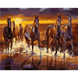 Diy 5D Diamond Painting Kit Diamond Sticker Stitch Painting Sets Full Drill Diamond Painting,Diamond Painting for Adult Or Kid- Horses(Frameless) (Color: Picture eey 3, Tamaño: 7.9 x 9.8 inch)