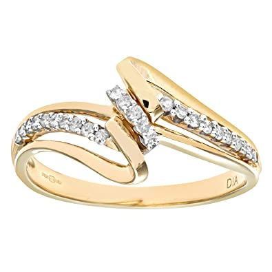 Naava 9ct Yellow Gold 0.15ct Diamond Crossover Ring