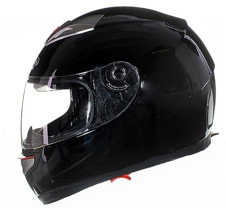 Casque Intégral à Double Visière - Moto/Scooter -Juridique de la Route - Pare Soleil - Noir Brillant - L (59-60 cm)