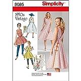 Simplicity 8085 1950's Vintage Fashion Women's Wrap Dress Sewing Patterns, Sizes 6-14 (Tamaño: Size: H5 (6-8-10-12-14))