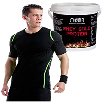 Whey Gold Protein, 2100g Eimer, Bananen Geschmack, Soja Isolat Eiweißpulver + Muskel T-Shirt