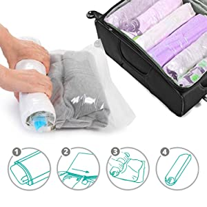 SINGARE Airtight Space Saver Bags Travel Storage Bags for Clothes, No Vacuum or Air Pump Needed, Perfect Roll-Up Compression Bags for Travelling or Ho