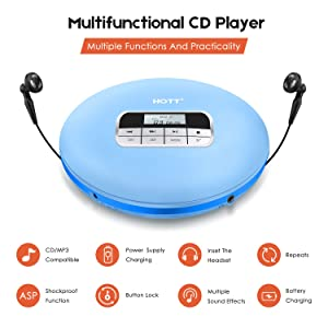 Portable CD Player, HOTT Personal Compact Walkman with Electronic Skip Protection Anti-Shock Function, Portable Disc Player with Headphones and Power Adapter (Color: Light blue)