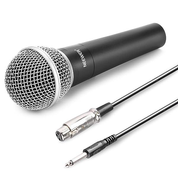 NEEWER® ZINC ALLOY BLACK PROFESSIONAL COIL MICRÓFONO DINÁMICO DE MANO PARA KARAOKE, escenario, grabación en estudio en el hogar, con 1/4 de cable macho a XLR hembra