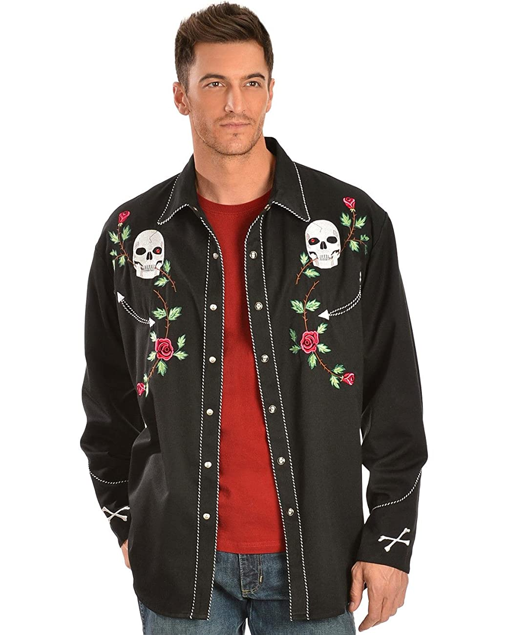 Scully Men's Skull And Roses Embroidered Retro Western Shirt Big - P-771 Blk_X 0