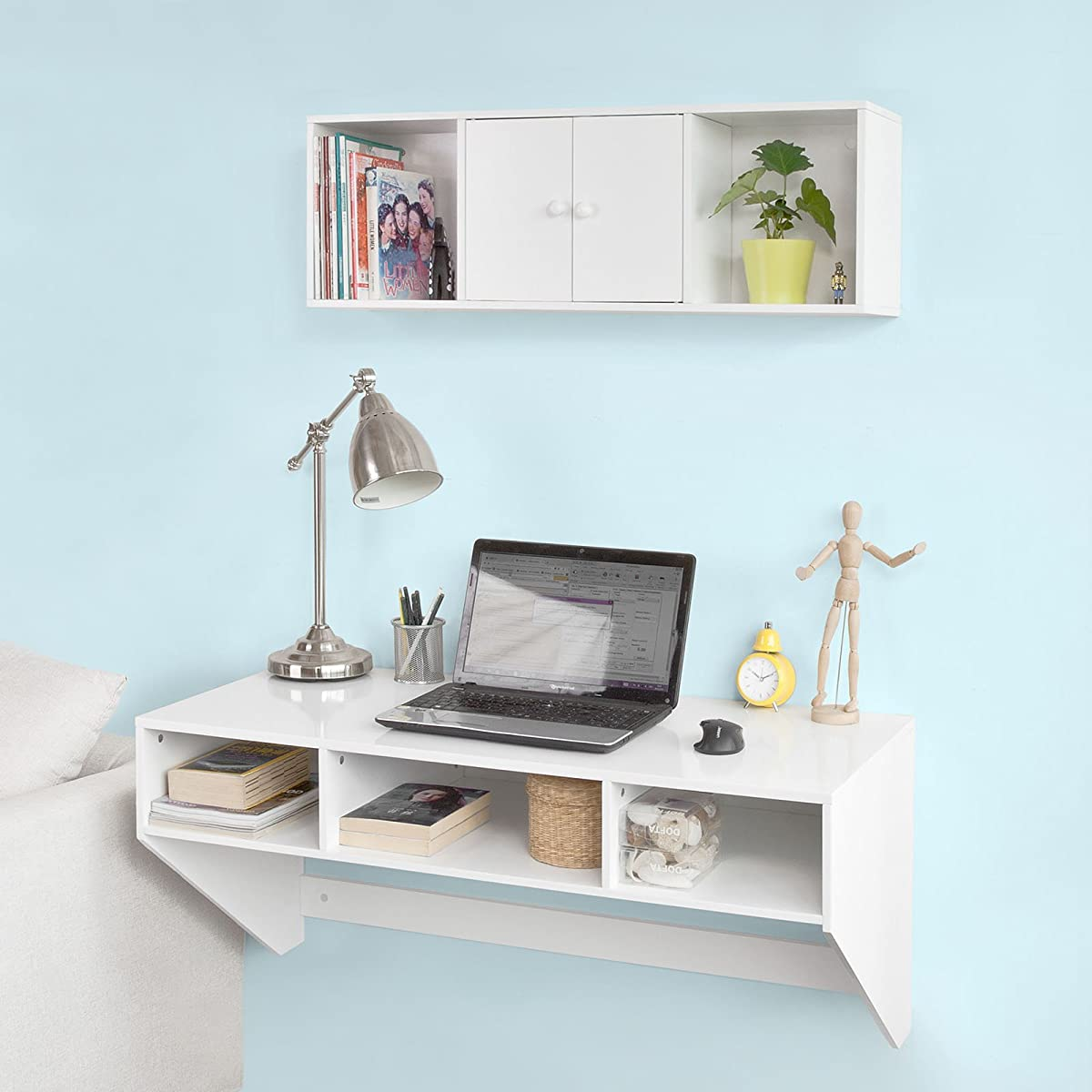 Haotian White Wall-mounted Table Desk with 3 Drawers, Home Office Desk Workstation, W90 x D48cm, FWT14-W