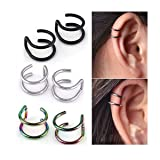 Llynice 6PCS Piercing Women Girls Men 16G Stainless Steel Non-piercing Fake Nose Ring Clip-on Cartilage Earring