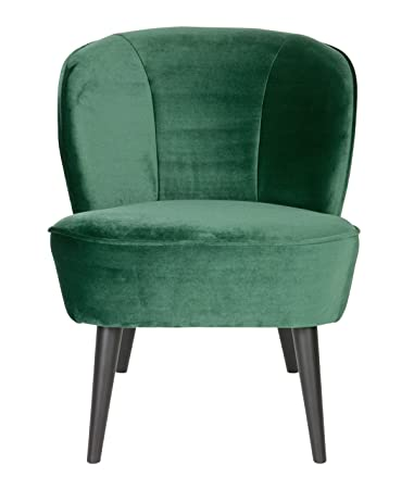 Fauteuil en polyester velours vert bouteille - Dim : H 71 x L 59 x P 70 cm -PEGANE-