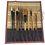 Shanlian Hubi Claborate-Style Painting Writing Brush Watercolor Chinese Calligraphy Brush Set Kanji Japanese Sumi Painting Drawing Brushes 11 Piece/Set+Roll-up Bamboo Brush Holder (Color: Color)