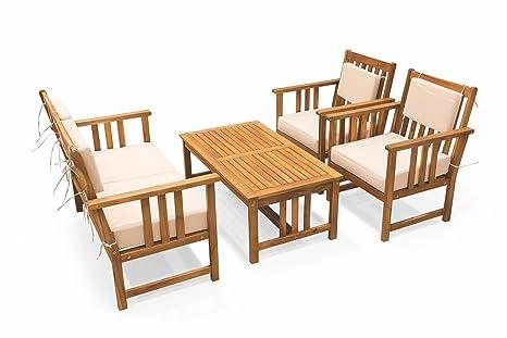 Galileo Casa Galileo 2414801 Sofa Set Tavolo e 2 Sedie, Acacia